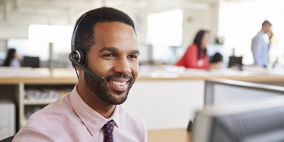 customer service agent on a headset